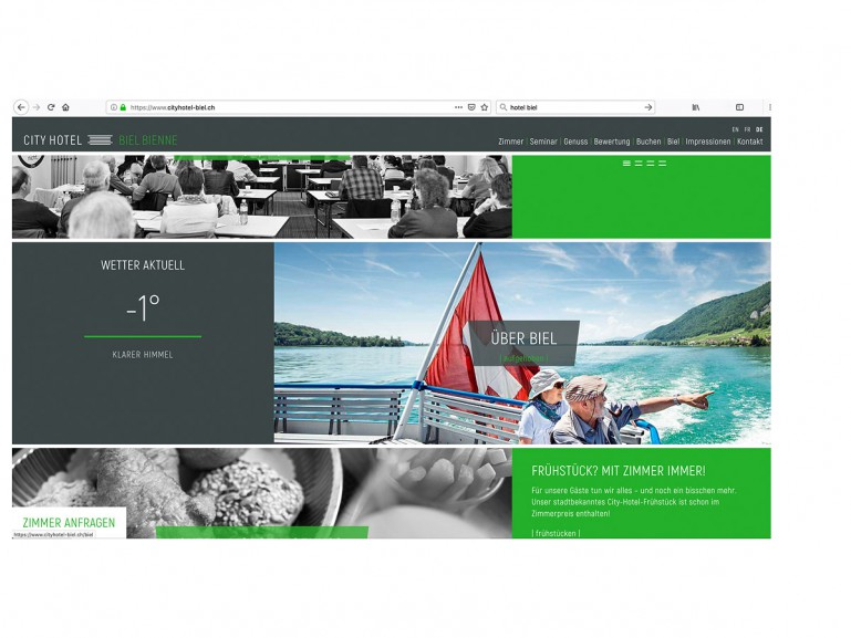Internetseite Cityhotel Biel Bienne / Biel
