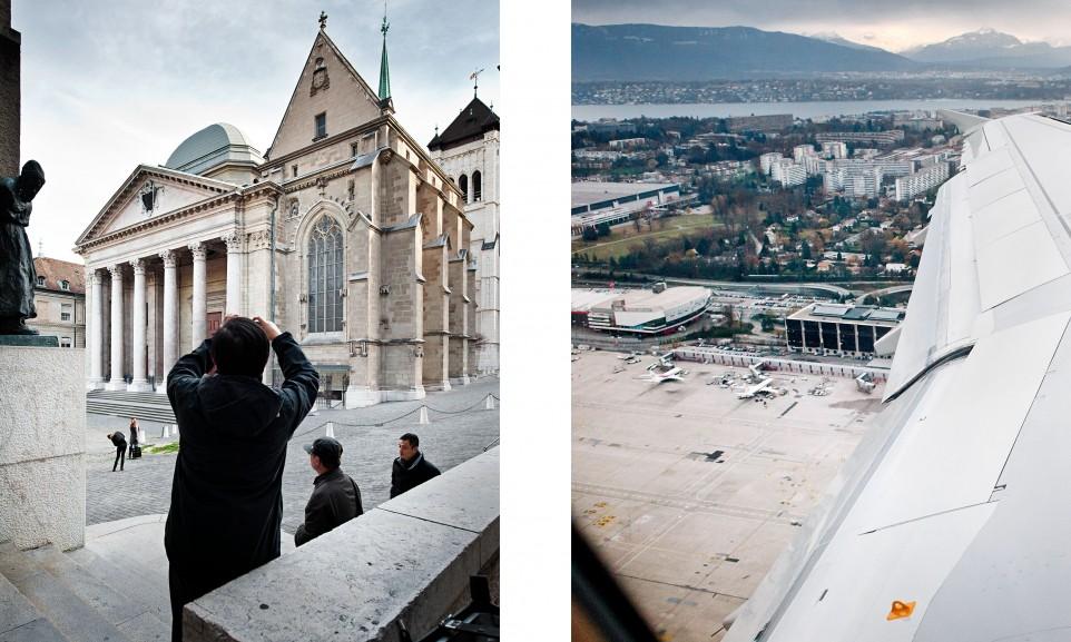 Alltagsszene in Genf und Abflug nach Paris