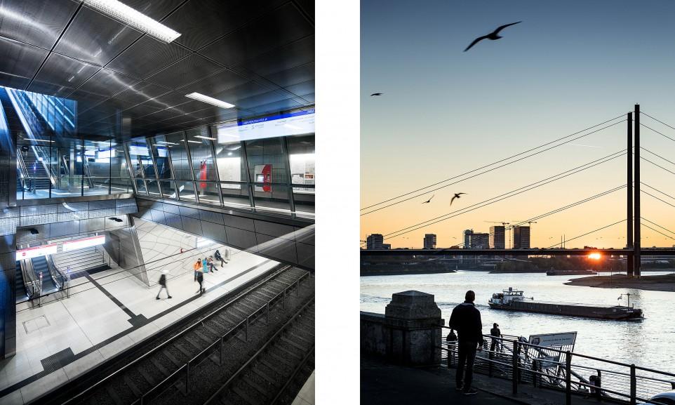 Die U-Bahn-Station Benrather Straße gehört zu den sechs aufwändig gestalteten Stationen der Wehrhahnlinie // Die Rheinpromenade im Sonnenuntergang