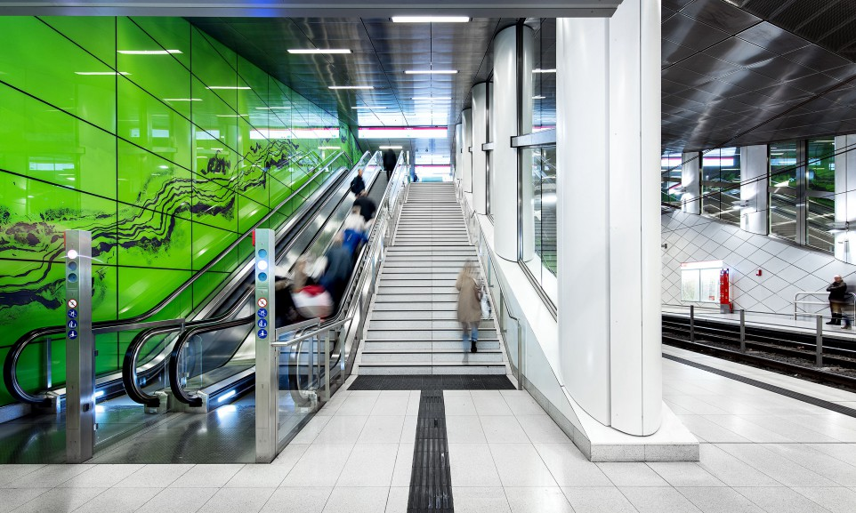 Die U-Bahn-Station Graf-Adolf-Platz gehört zu den sechs aufwändig gestalteten Stationen der Wehrhahnlinie