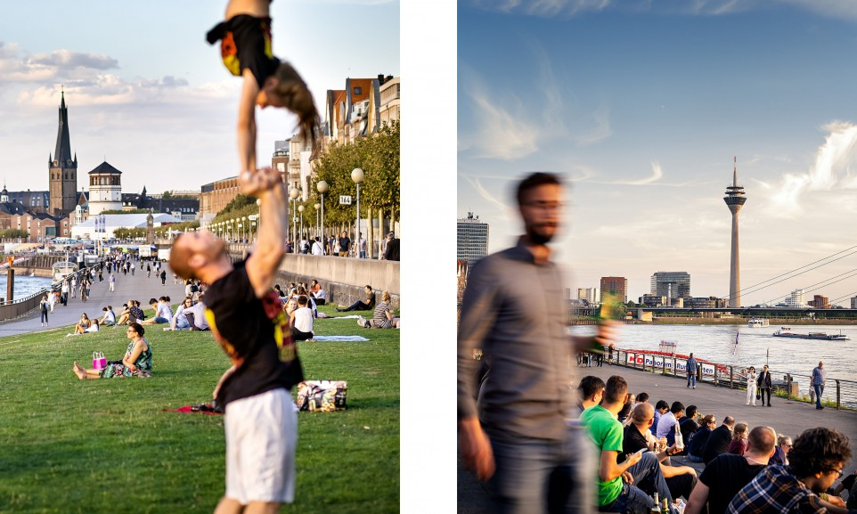 Leben an der Düsseldorfer Rheinpromenade